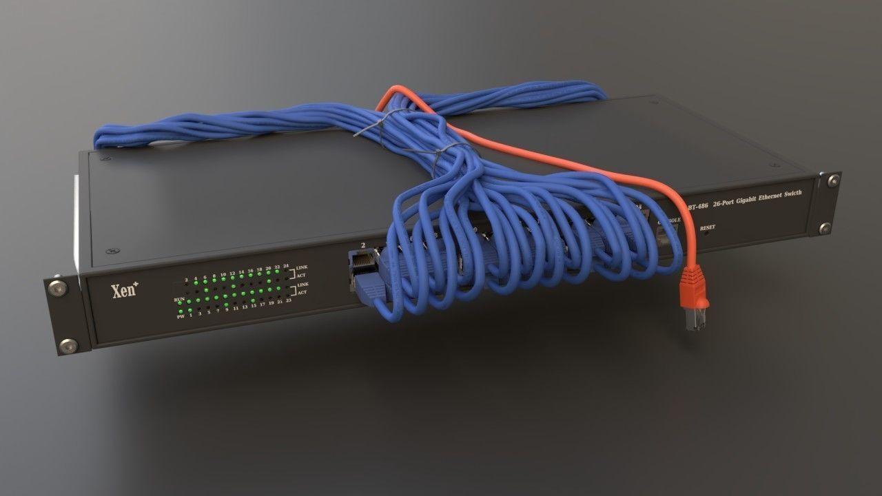 commutateur réseau rack avec câbles connectés